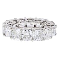 Platinum 13.89 Carat GIA Cushion Cut Diamond Eternity Band