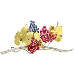 Platinum 14 Karat Gold Ruby Sapphire Diamond Branch with Leaves Brooch