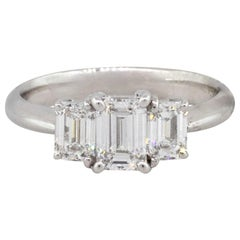 Platinum 1.41 Carat Emerald Cut Diamond Three-Stone Engagement Ring