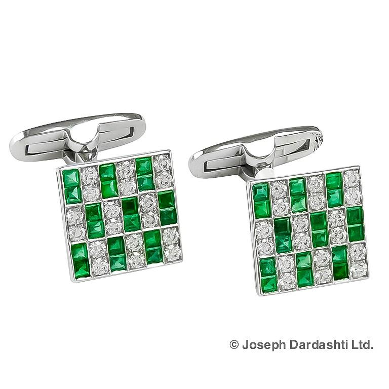 Platinum set cufflinks with diamonds 0.81 carat and green emeralds 1.45 carat.
