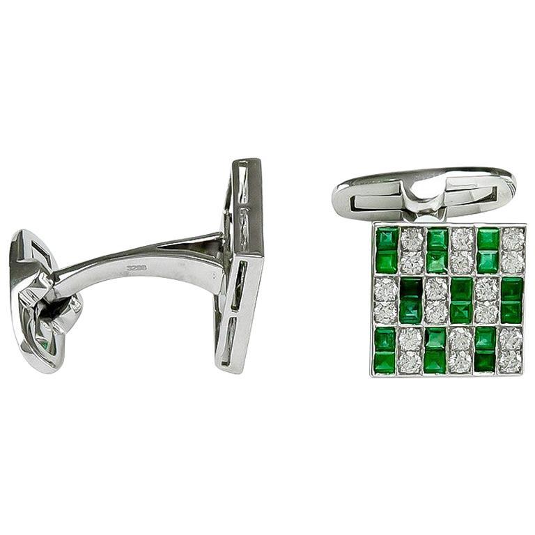 Platinum 1.45 Carat Emerald and Diamonds Cufflinks For Sale