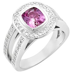 Platinum 1.48 Carat Cushion Cut Pink Sapphire with Diamond Halo Ring