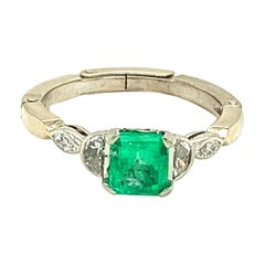 Platinum 14k Gold .81ct Genuine Natural Emerald and Diamond Ring '#J4798'