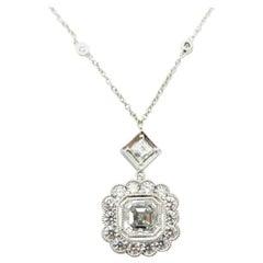 Platinum & 14K White Gold GIA certified Asscher & Round Diamond Necklace Pendant
