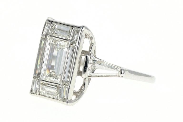 Baguette Cut Platinum 1.5 Carat Baguette Diamond 3.25 Carat Engagement Ring For Sale