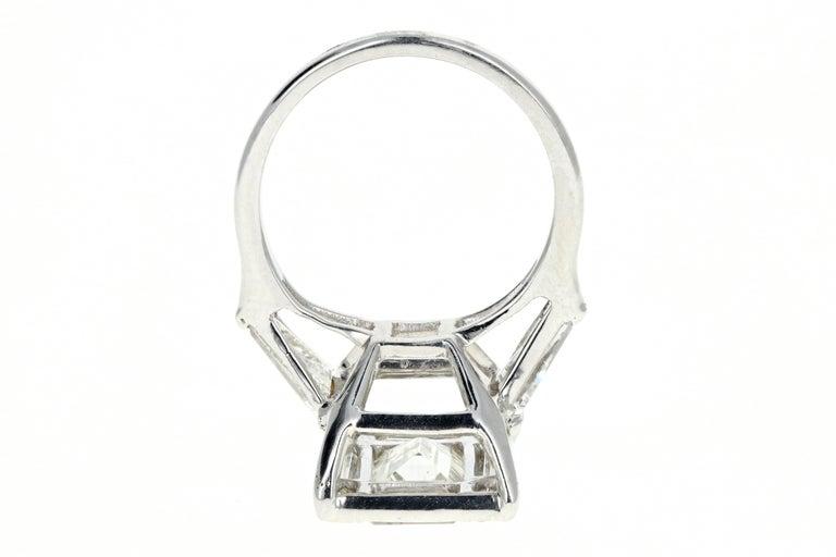 Platinum 1.5 Carat Baguette Diamond 3.25 Carat Engagement Ring For Sale 1