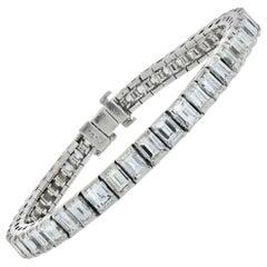 Platinum 15 Carat Emerald Cut Tennis Prong Set Vintage Bracelet