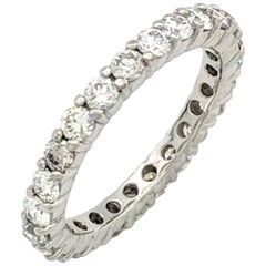 Platinum 1.50 Carat Round Diamond Eternity Wedding Band SI1/G
