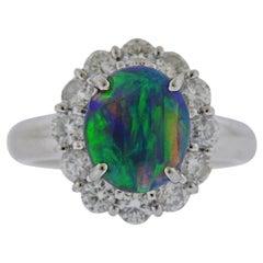 Platinum 1.51 Carat Opal Diamond Cocktail Ring