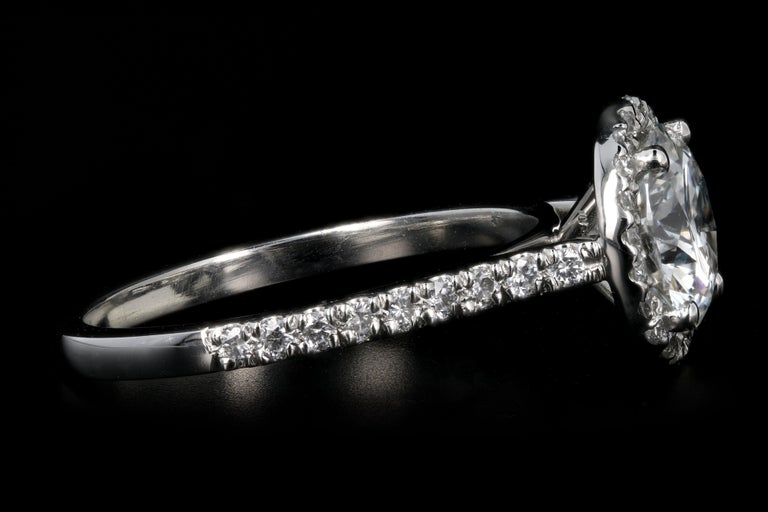 Platinum 1.56 Carat Round Brilliant Cut Diamond Halo Engagement Ring In New Condition For Sale In Cape May, NJ