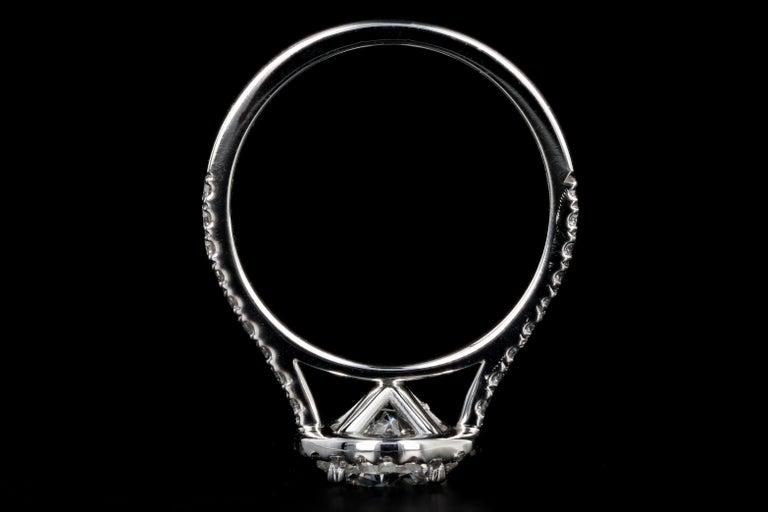 Platinum 1.56 Carat Round Brilliant Cut Diamond Halo Engagement Ring For Sale 1