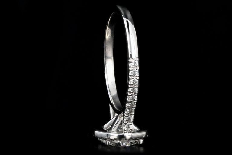 Platinum 1.56 Carat Round Brilliant Cut Diamond Halo Engagement Ring For Sale 2