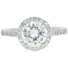 Platinum 1.56 Carat Round Brilliant Cut Diamond Halo Engagement Ring