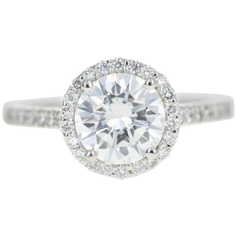 Platinum 1.56 Carat Round Brilliant Cut Diamond Halo Engagement Ring For Sale