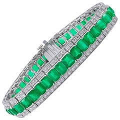 Platinum 15.83 Carat Emerald Diamond Bracelet