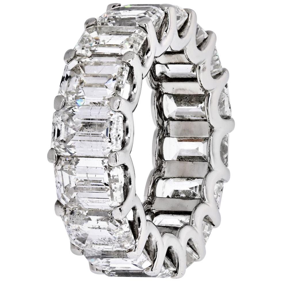 Platinum 16 Carat Emerald Cut Diamond U-Prong Eternity Band