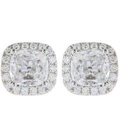 Platinum 1.64 Carat Cushion Cut Diamond Stud Halo Earrings