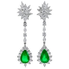 Platinum 17.12 Carat Diamond and Emerald Earrings