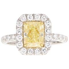 Platinum 1.73 Carat Fancy Yellow Radiant Cut Diamond Ring