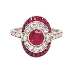Platinum 1.78ct Genuine Natural Ruby and Diamond Ring '#J4860'