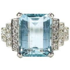Original Art Deco 5.00 Carat Aquamarine And Diamond 18 Karat White Gold Ring