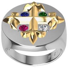 Platinum, 18 Karat Gold Fleur de Lis Diamond, Sapphire, Ruby Emerald Signet Ring