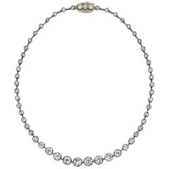 Platinum/18 Karat Old European Diamond 25 Carat Riviera Necklace