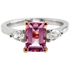 Platinum 18 Karat Rose Gold Pink Tourmaline Diamond Ring