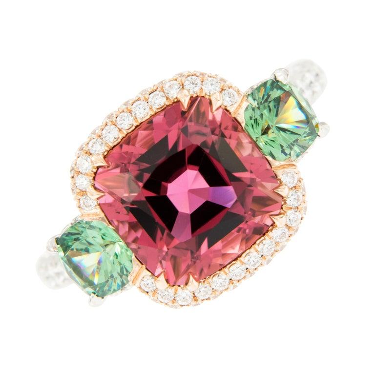 Contemporary Platinum 18 Karat Rose Gold Rubelite & AGL Cert. Demantoid Garnet Diamond Ring For Sale