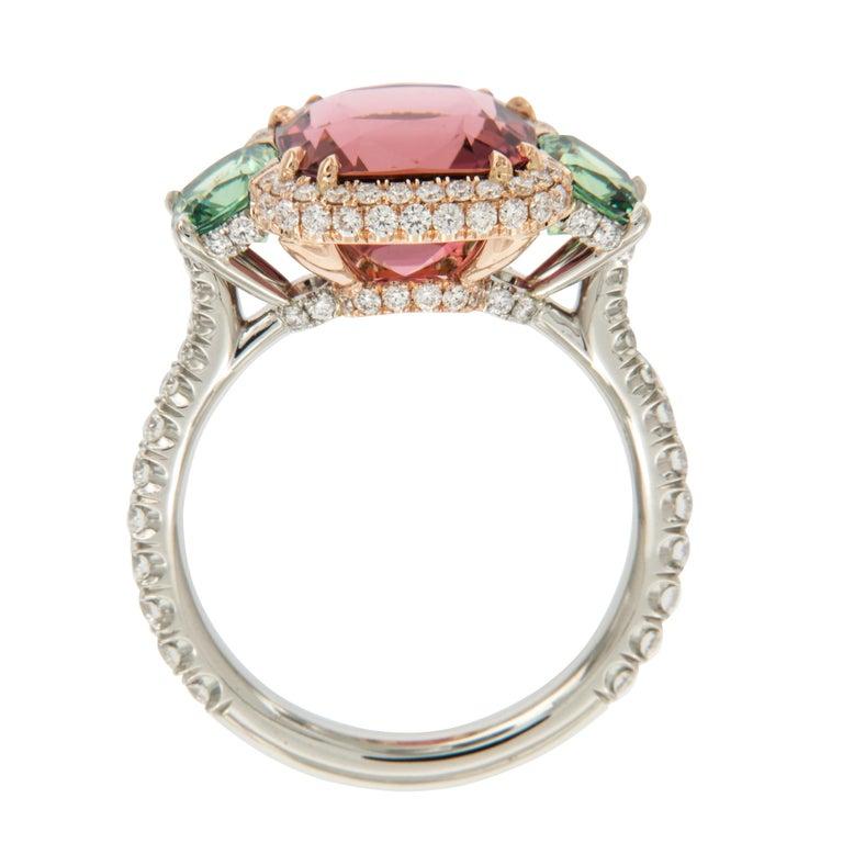 Antique Cushion Cut Platinum 18 Karat Rose Gold Rubelite & AGL Cert. Demantoid Garnet Diamond Ring For Sale