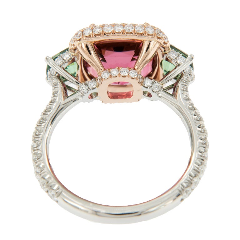Platinum 18 Karat Rose Gold Rubelite & AGL Cert. Demantoid Garnet Diamond Ring In New Condition For Sale In Troy, MI