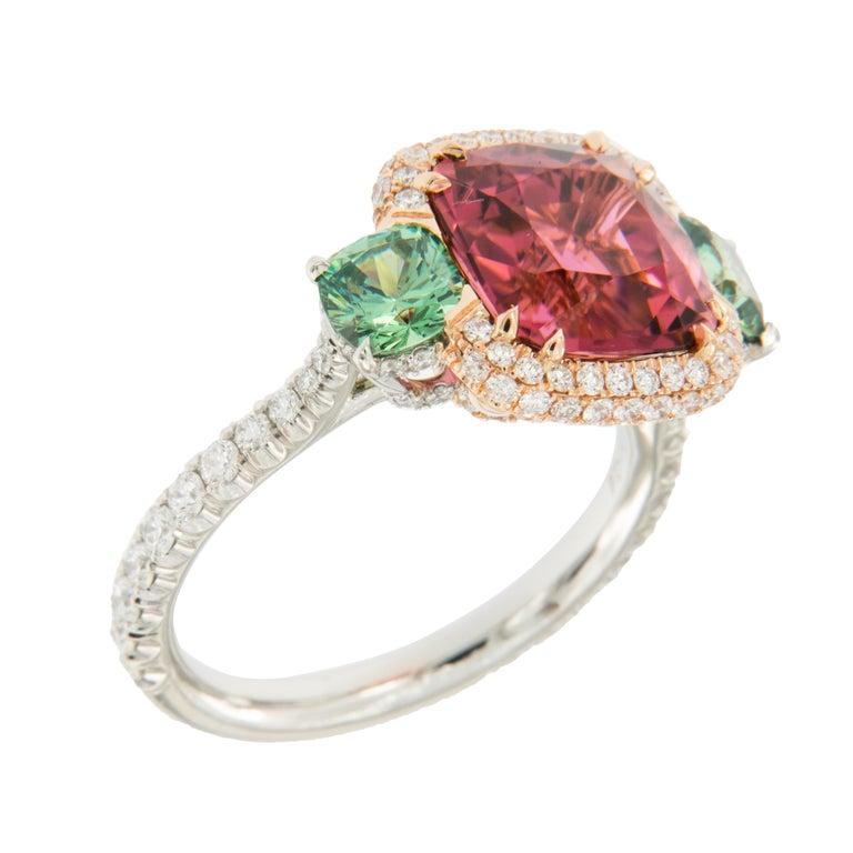 Women's or Men's Platinum 18 Karat Rose Gold Rubelite & AGL Cert. Demantoid Garnet Diamond Ring For Sale
