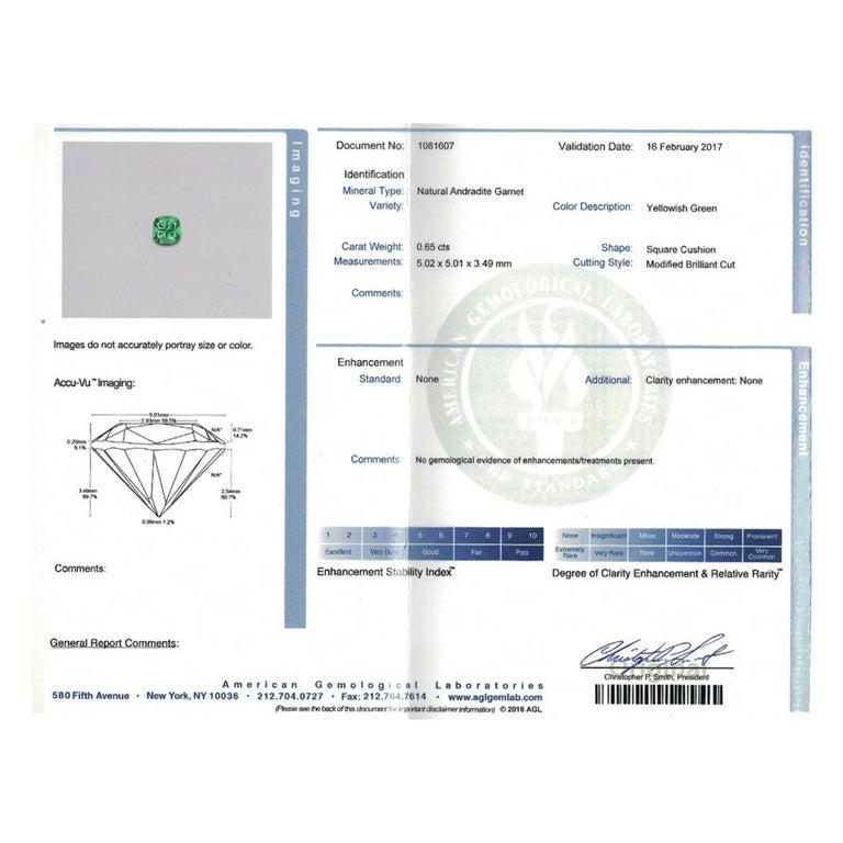 Platinum 18 Karat Rose Gold Rubelite & AGL Cert. Demantoid Garnet Diamond Ring For Sale 1