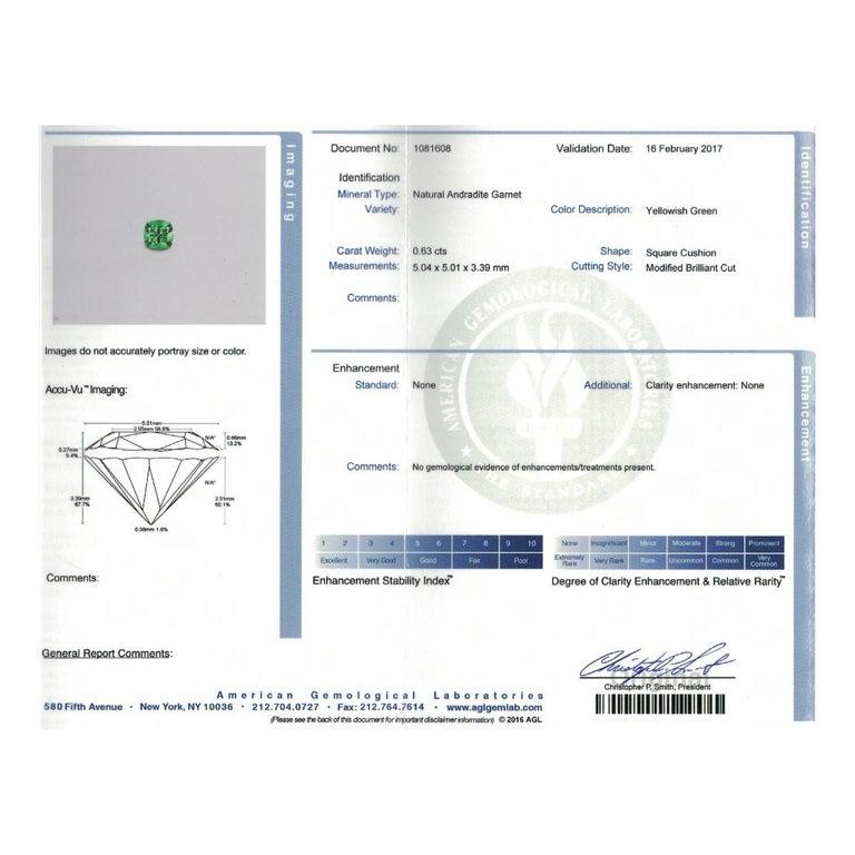 Platinum 18 Karat Rose Gold Rubelite & AGL Cert. Demantoid Garnet Diamond Ring For Sale 2