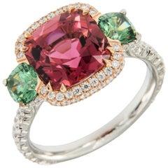 Platinum 18 Karat Rose Gold Rubelite & AGL Cert. Demantoid Garnet Diamond Ring
