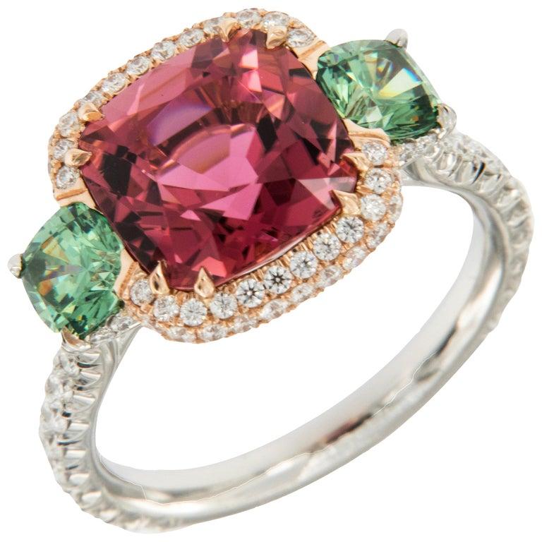 Platinum 18 Karat Rose Gold Rubelite & AGL Cert. Demantoid Garnet Diamond Ring For Sale