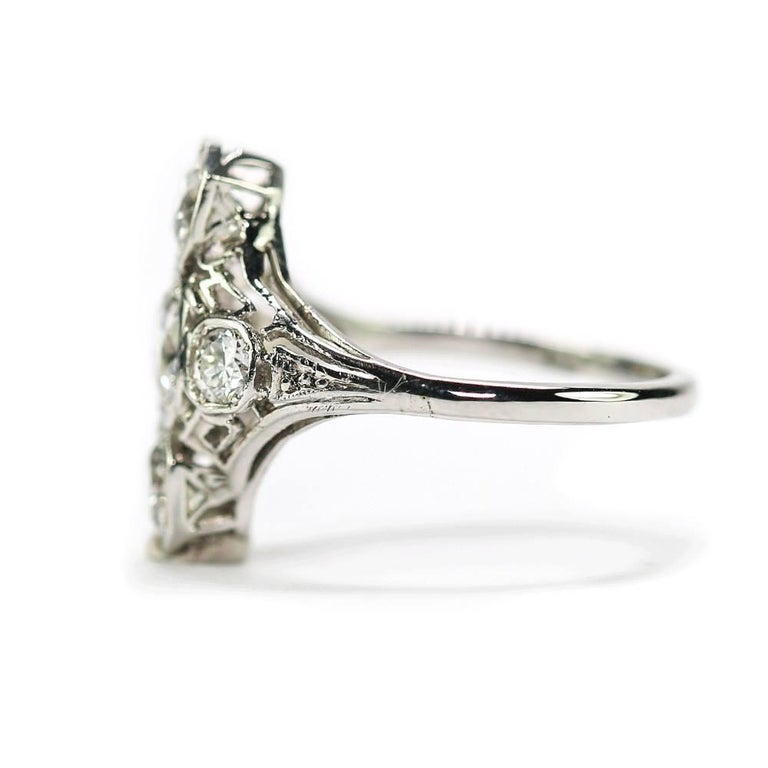 Women's Art Deco 2.10 Carat Diamond Trilogy Ring set in Platinum & 18 Karat White Gold For Sale