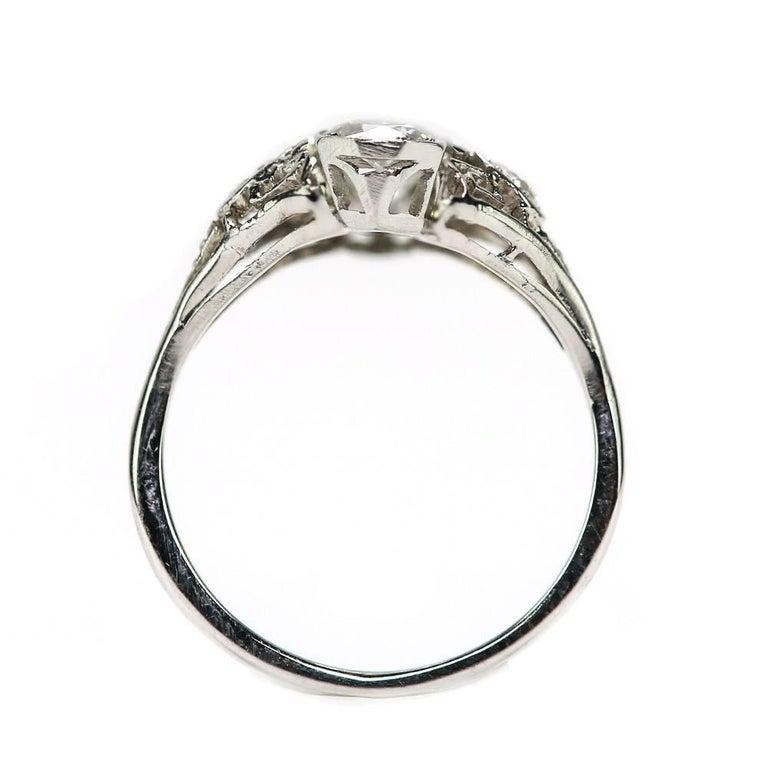 Art Deco 2.10 Carat Diamond Trilogy Ring set in Platinum & 18 Karat White Gold For Sale 2