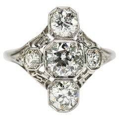 Platinum and 18 Karat White Gold Art Deco Trilogy Diamond Ring Est. 2.10 Carat