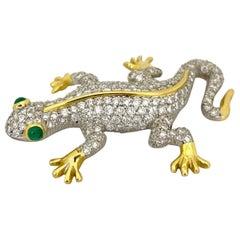 Platinum/ 18 Karat Yellow Gold 2.67 Carat Diamond Salamander Brooch