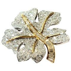 Platinum, 18 Karat Yellow Gold and Diamond Maple Leaf Brooch with 9.66 Carat
