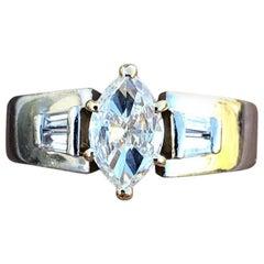 Platinum 18 Karat Yellow Gold and Diamond Ring 0.70 Carat G-VS2