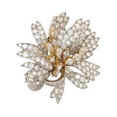 Platinum 18 Karat Yellow Gold Diamond Floral Pin Brooch