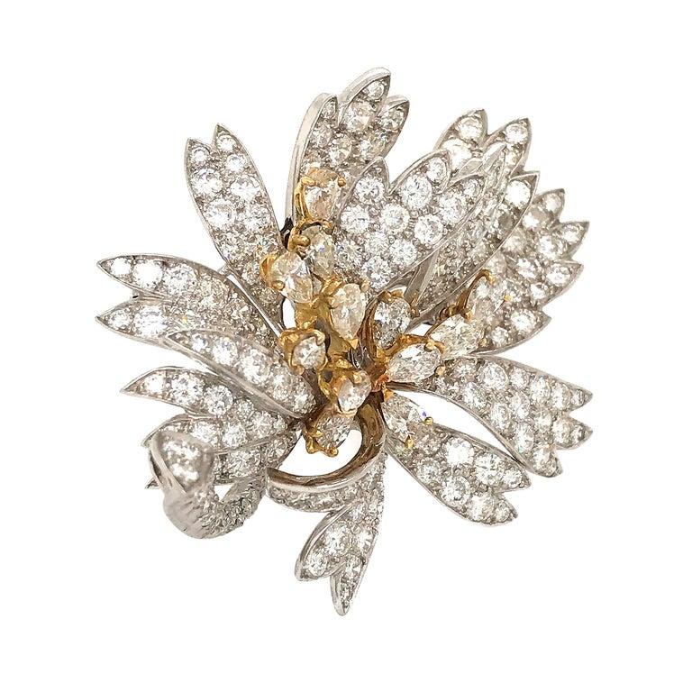 Platinum 18 Karat Yellow Gold Diamond Floral Pin Brooch For Sale