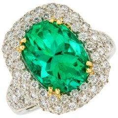 Platinum 18 Karat Yellow Gold Emerald Diamond Cocktail Ring