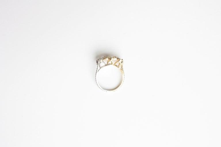 Women's Sharon Khazzam Platinum & 18K Yellow Gold Grey and Yellow Diamond Florette Ring For Sale