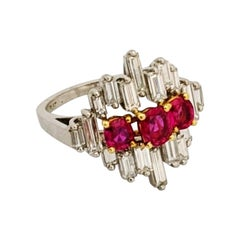 Platinum & 1.80 Carat Diamond Baguette Cocktail Ring with 1.26 Carat Oval Rubies