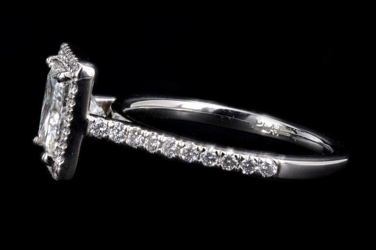 Women's Platinum 1.80 Carat Princess Cut Diamond Halo Engagement Ring For Sale