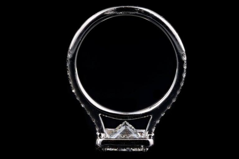 Platinum 1.80 Carat Princess Cut Diamond Halo Engagement Ring For Sale 2