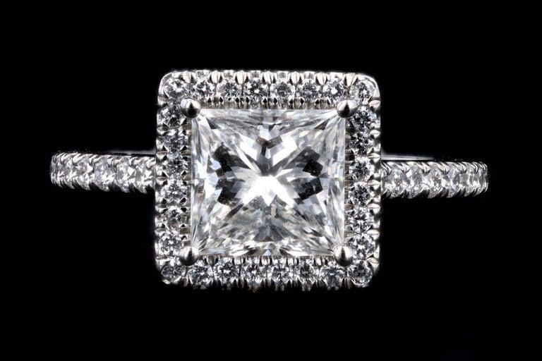 Platinum 1.80 Carat Princess Cut Diamond Halo Engagement Ring For Sale 3